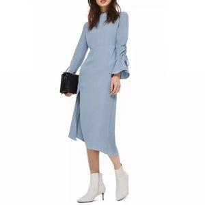 TopShop Pale Blue Ruched Sleeves Midi Dress